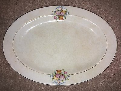 Old Knowles Taylor & Knowles Semi-Vitreous Floral Oval China Plate - Gold Trim