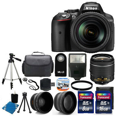 Nikon D5300 Digital SLR DSLR Camera +3 Lens 18-55 VR +24GB KIT & More Brand New