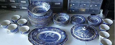 52 Piece Liberty Blue Historic Colonial China Collectible Plates Cups Dishes ++