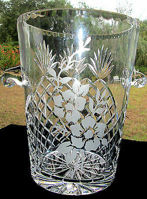 """VINTAGE HANDCUT CRYSTAL 10"""" TALL CHAMPAIGNE BUCKET w ETCHED FLOWERS DESIGN 7.6pd"""