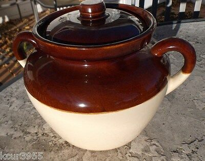 Vintage McCoy Pottery #342 Bean Pot with Lid  Tan and Brown