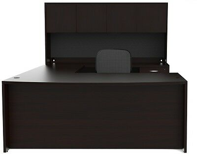 New Amber Bowfront U-Shape Executive Office Desk with Hutch (1 Pedestal)