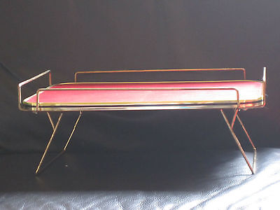 RETRO VINTAGE RED LEATHER TOPPED METAL DRINK TRAY