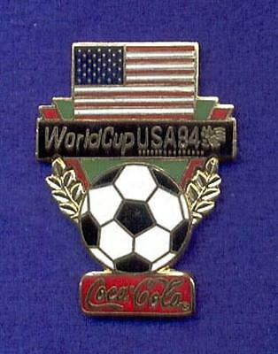 Beautiful Cloisonne Coca-Cola Coke World Cup Soccer Ball American Flag Lapel Pin