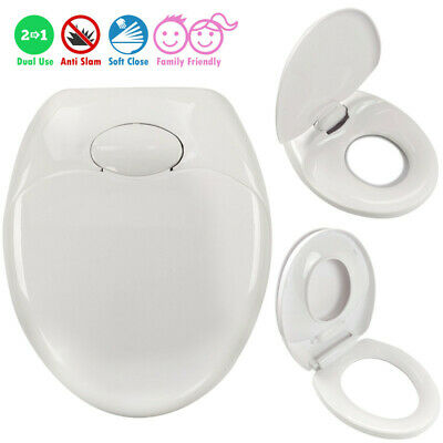 Toilet Seat Soft Close (White) | Child Family Friendly | TOP or BOTTOM Hinges