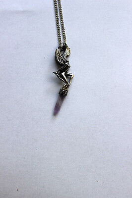 "AMETHYST Crystal Point Big Hair FAIRY Necklace 24 "" Pewter Wicca Pagan Fee"