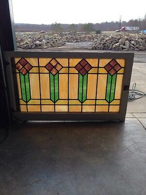 "Sg 56 Arts And Crafts Men Style Antique Stained Glass Window 421/2"" Wx 25"" H"