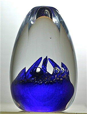 """""""PROMETHEUS"""" EGG SHAPED PAPERWEIGHT BY TEIGN VALLEY GLASS -- 2 1/2"""" X 4"""""""
