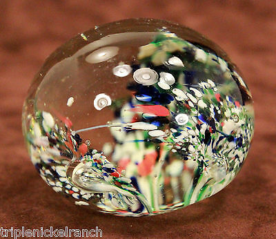 Round Glass Paperweight Floral Lilies Abstract Multi Colors Blown Contemporary