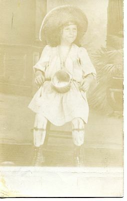 Little Girl Named Lizzie-Straw Hat-Metal Pail-RPPC-Vintage Real Photo Postcard