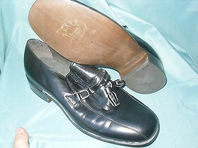 Hanover L B SHEPPARD Mens 8 E/C Black Tassel Loafers Slip On Preowned Wore 1X