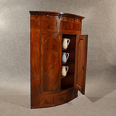Antique Bow Corner Cupboard Quality English Display Cabinet Fine Mahogany c1830