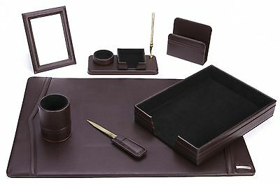 7 Piece Brown Eco-Friendly Leather Desk Set Office/Home Great Holiday Gift Item