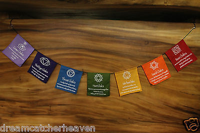 Mini Chakra Prayer Flag 180Cm Length Approx. Metaphysical New Age Meditation