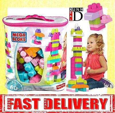 Mega Bloks PINK Buildable Bag (60 Pieces) Babys First Builders Building Blocks