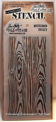 Woodgrain Design Layering Stencil - Stampers Anonymous Tim Holtz Collection