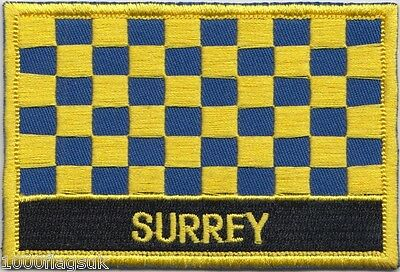 Surrey County Flag Embroidered Patch Badge - Sew or Iron on
