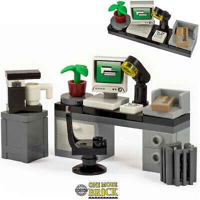 LEGO Office Desk with Computer, Keyboard, Letter, Coffee Machine & accessories