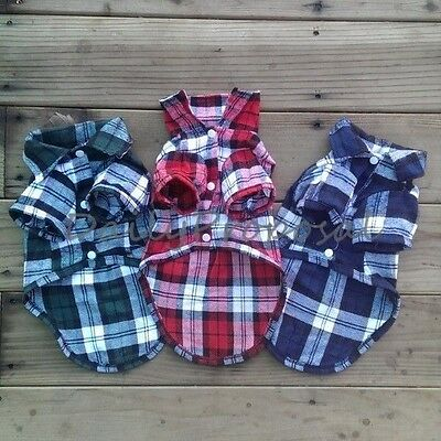 Plaid Checkered Collar Shirt Small Pet Clothes Dog Button Costume XS-L 3 Colors