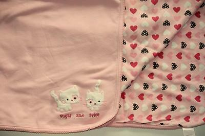 GYMBOREE PINK BABY BLANKET Sugar And Spice Cats Hearts Nice Kitty