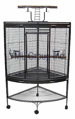 """YML 3/4"""" Bar Spacing Corner Wrought Iron Parrot Cage in Antique Silver - WI37CAS"""