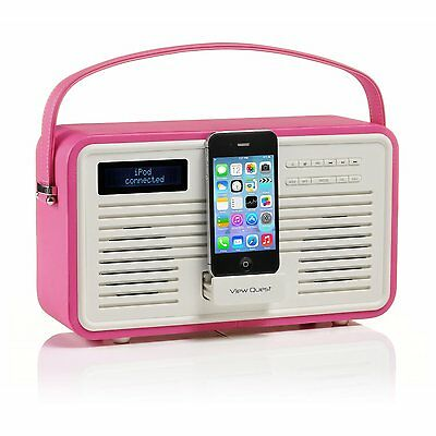 View Quest Retro ColourGen DAB+ FM Radio 30-Pin iPhone Docking Station Hot Pink
