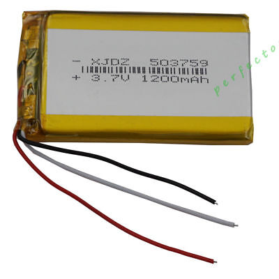 3.7V 1200 mAh 3 wires thermistor Polymer Li Battery For PDA GPS Tablet PC 503759