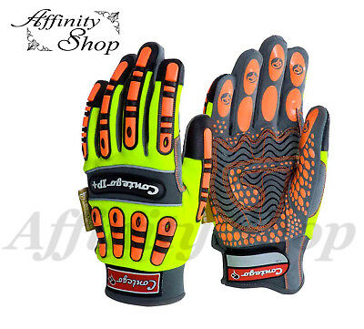 4x Contego HV Impact Protection IP+ Work Gloves Silicon Grip Hi Vis Glove NEW!