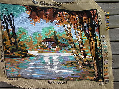 fully worked completed tapestry made in greece country house landscape 50x36cm