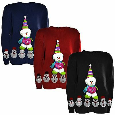 New Boys Girls Kids Novelty Christmas Jumpers Knitted3d Teddy Snowman 5-10 Years