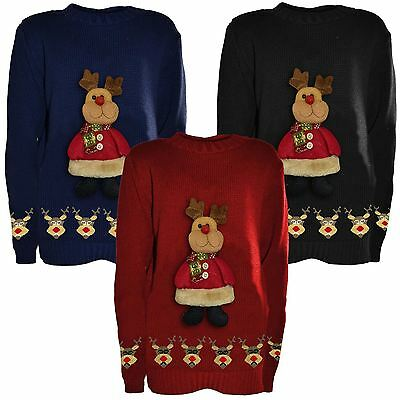 New Boys Girls Kids Novelty Christmas Jumpers Knitted3d Teddy Reindeer 5-10Years
