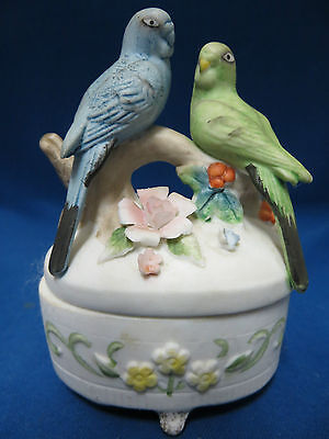 Trinket Box Parakeet Birds Porcelain Bisque Rings Earrings Jewels Covered