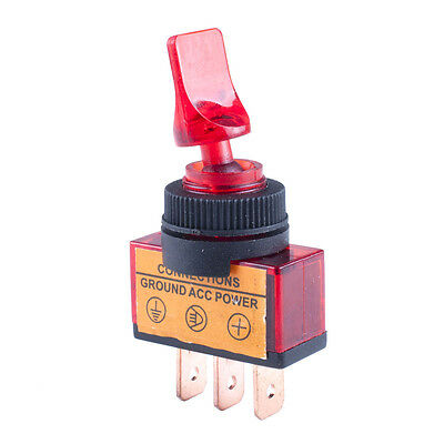 1pc,12V 20A ON-OFF SPST TOGGLE SWITCH 3pins CONNECTIONS Ground ACC POWER Red Led