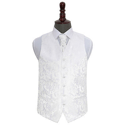New Dqt Passion Mens Wedding Waistcoat & Cravat Set - White
