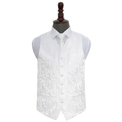 New Dqt Passion White Men's Wedding Waistcoat & Tie Set