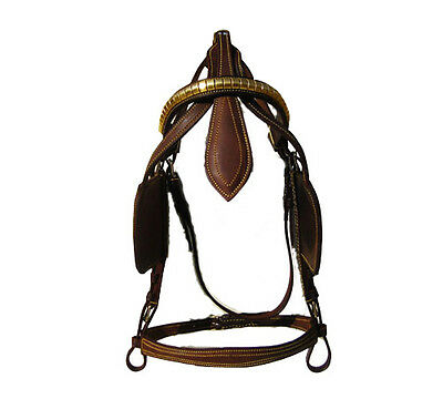 Leather Driving Harness Bridle In London Brown Color In Full, Cob, Pony