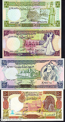 Syria 1991- 1998 *  5, 10,  25, 50 Syrian Pounds * Banknote set of 4 UNC