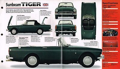 SUNBEAM TIGER SPEC SHEET/Brochure/Pamphlet/Catalog:1965