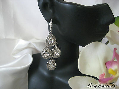 "NEW VICTORIAN STYLE CRYSTAL JEWEL LEVERBACK CHANDELIER EARRINGS 2 5/8"" L Bridal"