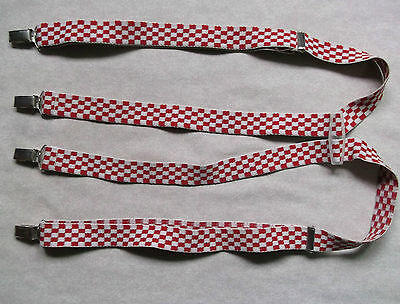 Mens Vintage Clip On Braces 1960's 1970's Ska Shinhead Punk Red White Checked