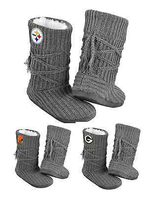 NFL Football Team Logo Womens High End CABLE TIE Slippers Boots - Pick Your Team