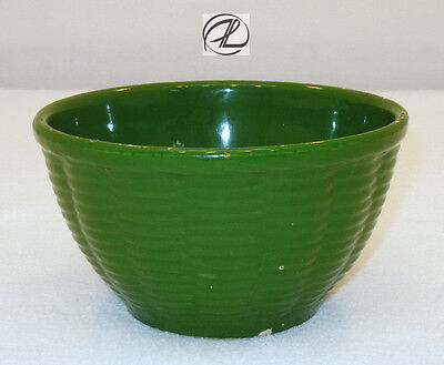 Mixing Bowl Green Small Vintage Pottery Ovenware Basket Weave Pattern USA