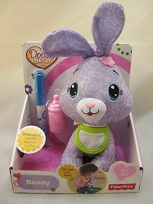 New Fisher Price DOODLE BEAR  Mini Violet BUNNY Washable New in Box