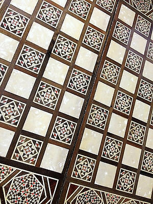 Vintage Mosaic Inlaid Mother of Pearl & Wood Chess & Backgammon Board Great cond