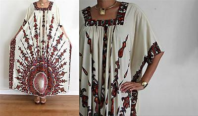 vtg Cream ETHNIC SUNBURST BOHO FESTIVAL BORDER PRINT CAFTAN Maxi Dress O/S