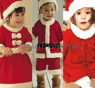 Christmas Santa Claus Costume Hat Dress Toddler Boy Girl Kids 1-3T Photography