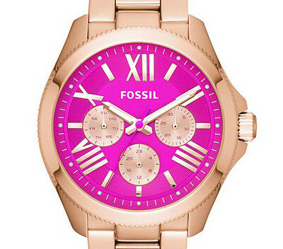 FOSSIL AM4549 ROSE GOLD PINK DIAL CHRONOGRAPH LADIES DESIGNER WATCH RRP £149