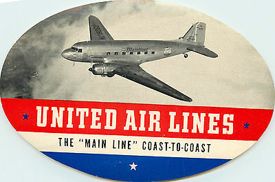 The Main Line Coast to Coast ~UNITED AIRLINES~ Great Old Luggage Label