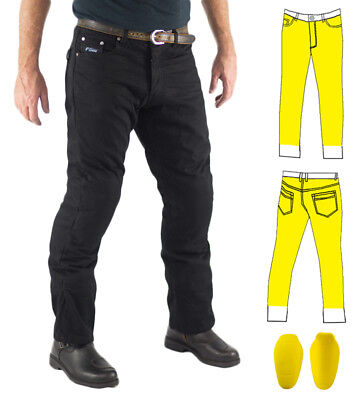 Mens Black Motorcycle Jeans Full Lined with Knitted Kevlar® +CE Armour Finn Moto