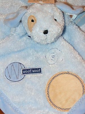 CARTERS SMILEYHAPPY FRIENDS BLUE PUPPY DOG WOOF WOOF SECURITY BLANKET NWT